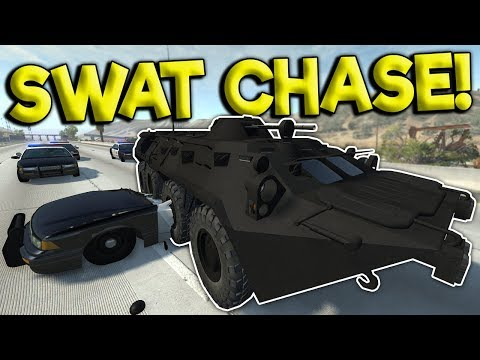 CRAZY SWAT APC POLICE CHASE & CRASHES! - BeamNG Gameplay & Crashes - Cop Escape
