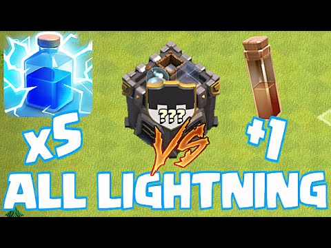 Clash Of Clans - LIGHTNING X5 VS CLAN CASTLE!!! (w/Earthquake First)