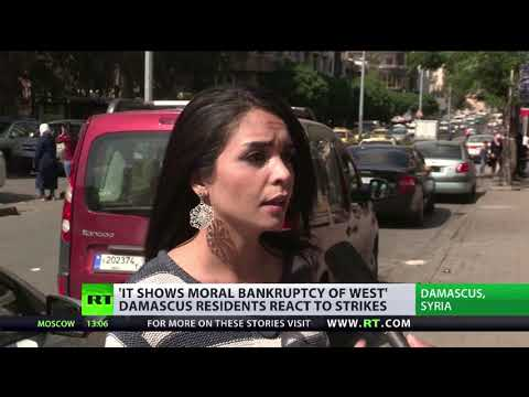 Damascus residents react to joint Syrian airstrikes