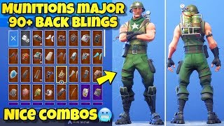 "NOUVEAU ""MUNITIONS MAJOR"" SKIN Showcased With 90 'BACK BLINGS! Fortnite Battle Royale (MUNITIONS MAJOR)"