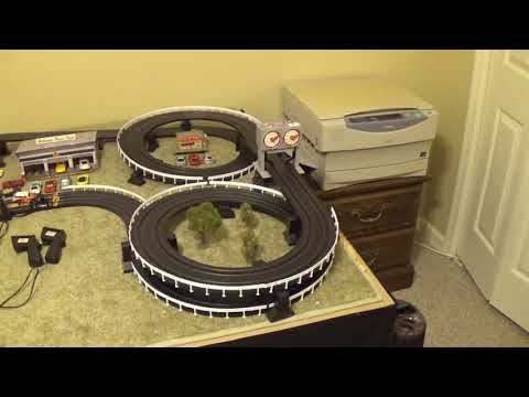 HO Train and HO Slot Car layout – ADDED 5 FEET TRACK