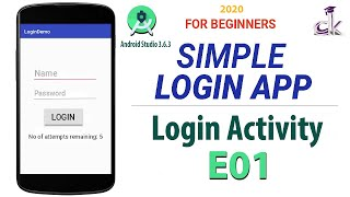Simple Login App Tutorial For Beginners E01 - Login Activity Using Android Studio 3.6.3 (NEW)