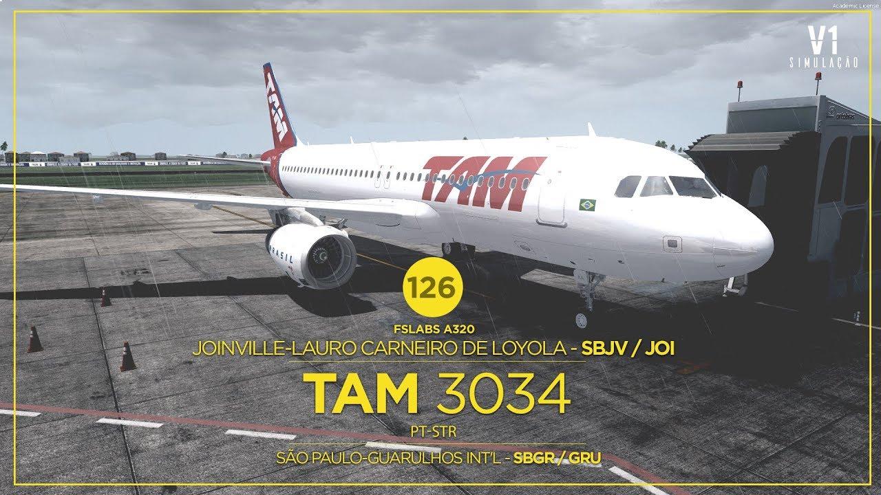 P3DV4 | FsLabs A320 | Joinville - SBJV / JOI → Guarulhos Int'l - SBGR / GRU