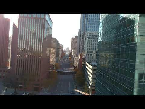 Low flight thru downtown Omaha  0716 1080p HD