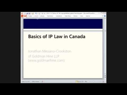 Basics of Canadian intellectual property law (webinar)