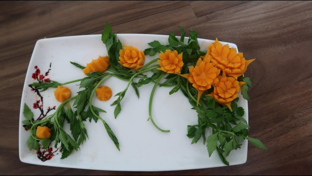 Học trang trí đĩa ăn tại nhà để cách ly toàn xã hội  không chán| hoa từ quả bí đỏ