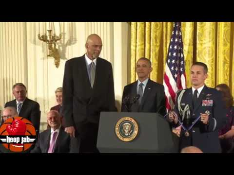 President Barack Obama Presents Kareem Abdul Jabbar With The Medal Of Freedom. HoopJab NBA