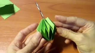 Как Сделать Три Елочные Игрушки Из Одного Листа Бумаги. Новогодние Поделки Оригами Своими Руками