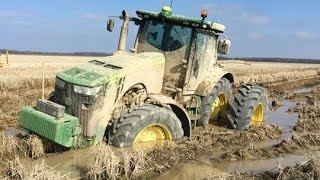 Tractor stuck in DEEP mud - compilation 2016