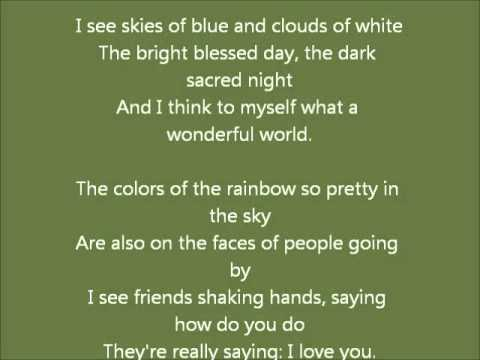 What A Wonderful World By Louis Armstrong With Lyrics Learn English By Singing Youtube