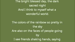 What a wonderful world by Louis Armstrong. With lyrics. Learn english by singing.