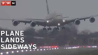 An aircraft had to make an unorthodox landing after battling strong winds brought on by Storm Dennis this past weekend.  #StormDennis #Heathrow #ExtremeWeather