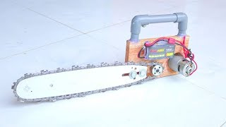 How to make a Electric Chainsaw with 12V Motor at Home