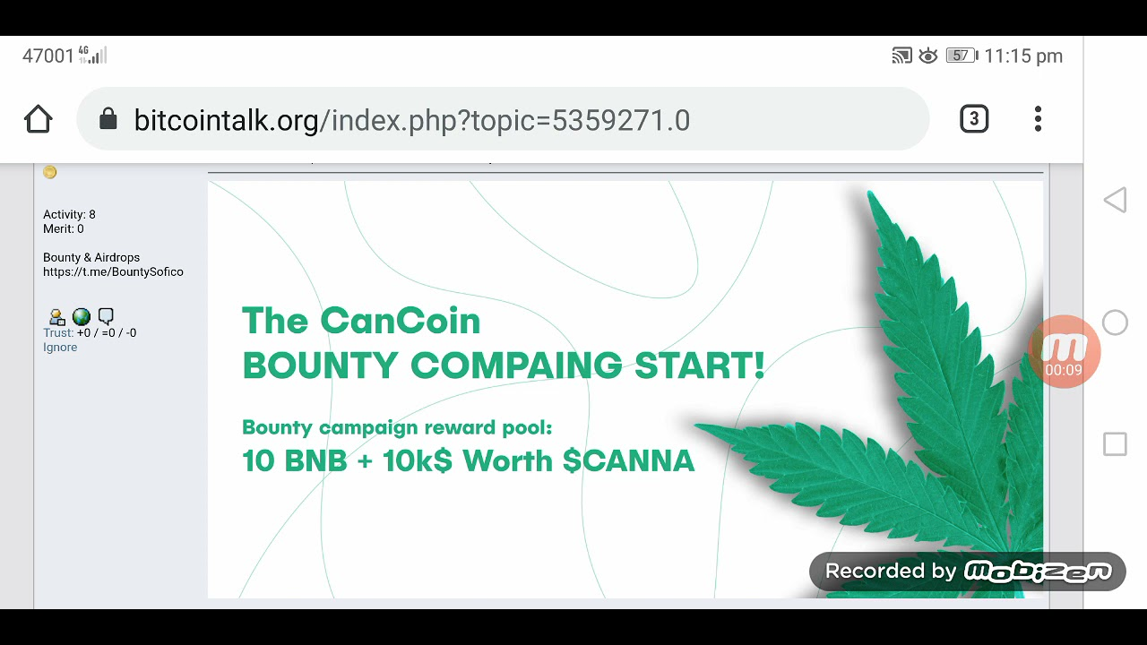 10 Banab + $ 10,000 CanCoin Free    Cancoin - Welcome to the Legal Cannabis Industry!