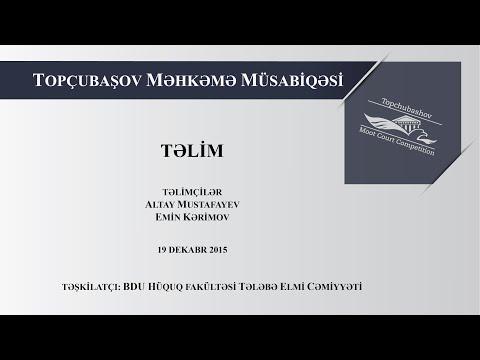 Praktiki Hüquqi Yazı və Şifahi Məhkəmə Çıxışları haqqında Təlim (19.12.2015)