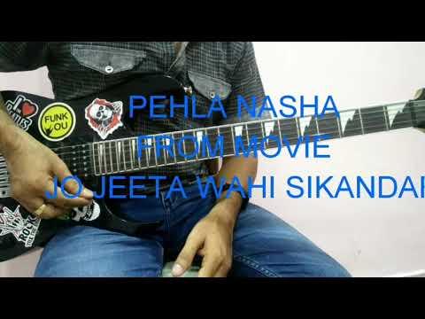 Pehla nasha guitar chords with backing track - YouTube