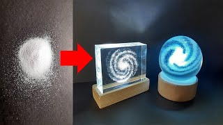 I TURN POWDER INTO GALAXY LAMPS- Resin art- epoxy resin and wood lamp