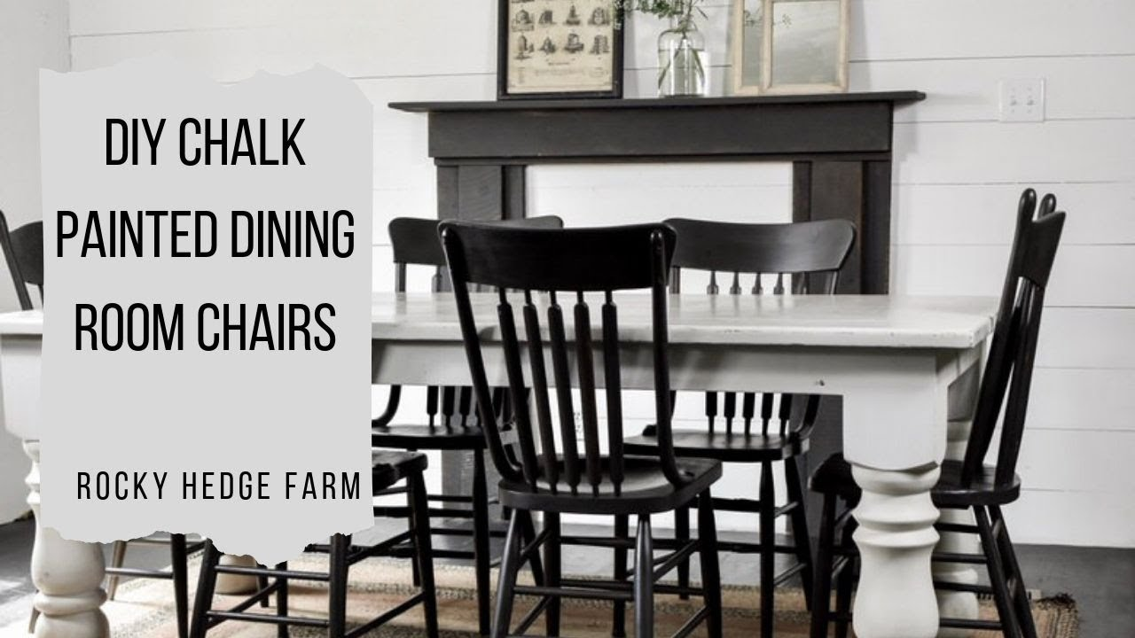 Rustic Black Chalk Painted Dining Room Chairs