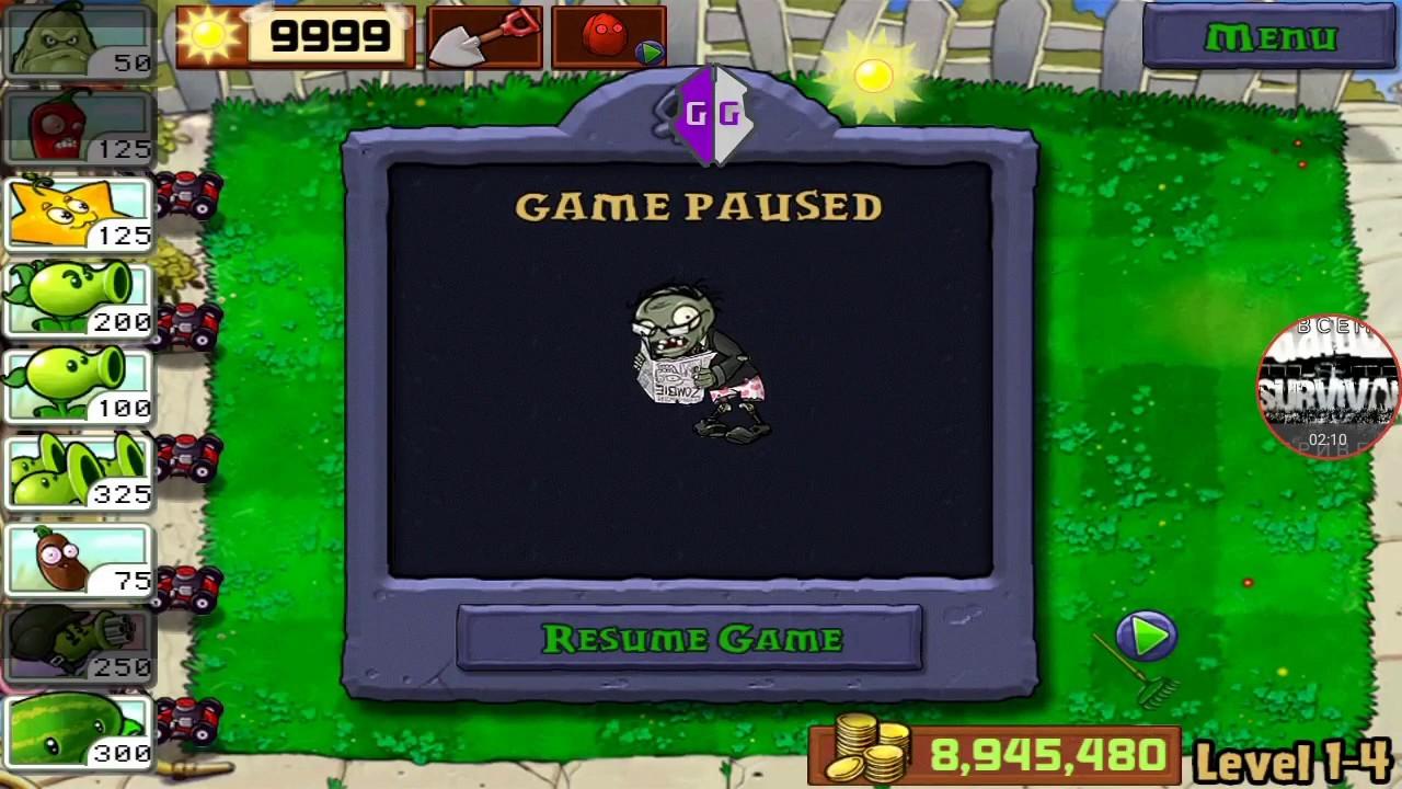 читы на игру растения против зомби на солнце и на деньги