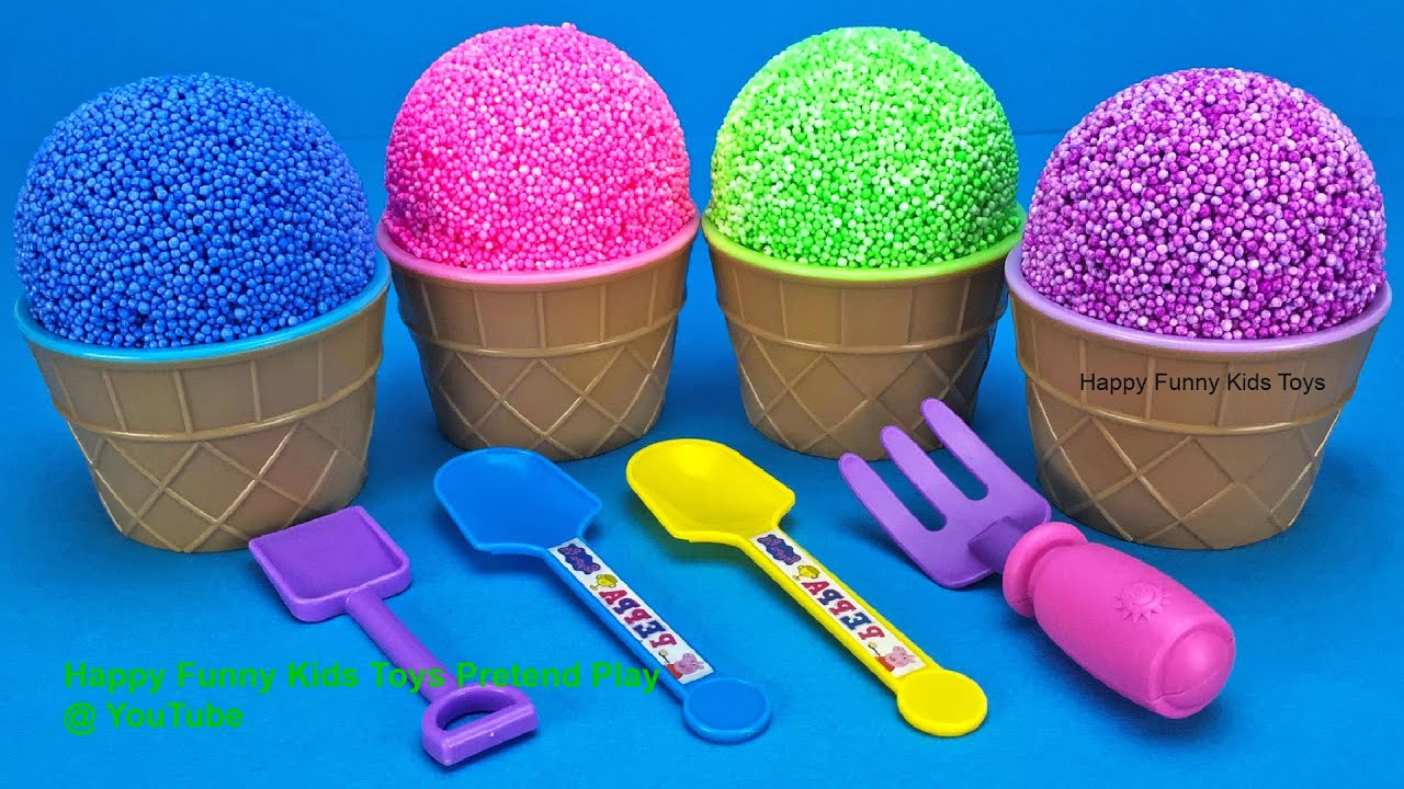 Play Foam Ice Cream Cups Surprise Toys Learn Numbers and Colors for Kids