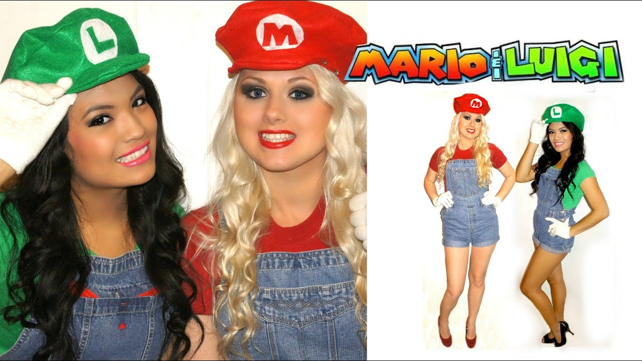 sc 1 st  YouTube & Mario and Luigi couple Halloween costumes - DIY Tutorial! - YouTube
