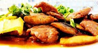Китайская кухня. Жареная баранина с грибами.