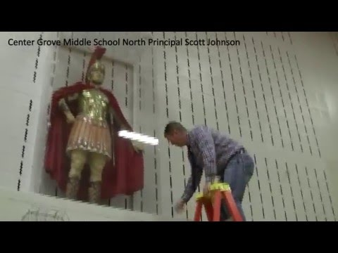 Why is the Center Grove Middle School North Principal On a Ladder?