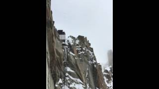 Wing suit base jump from the Aiguille du midi, Chamonix, Mont-Blanc