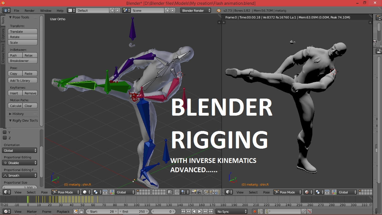 Blender Character Modeling And Rigging : Blender rigging with inverse kinematics full course for