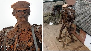 amazing 6 metre metal soldier made from spanners car jacks and horseshoes in uk
