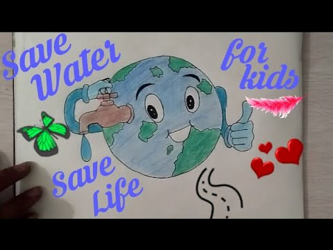 How to draw save water save earth drawing for kids save future coloring drawing