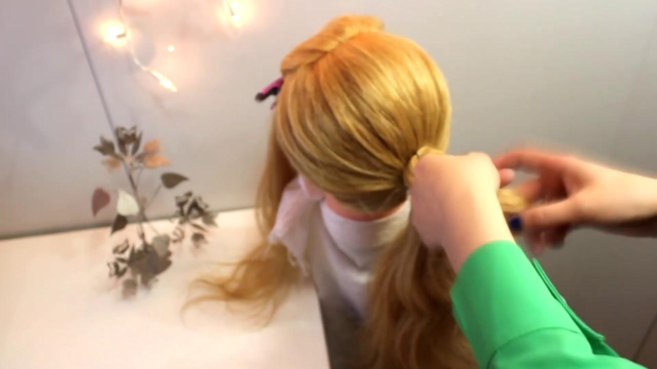 Прическа оригинальная праздничная пучок из узлов. Вечерняя объемная причёска