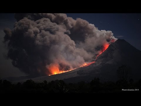 Pyroclastic flows and close up of collapsing lava lobe at night, Sinabung Volcano, Indonesia