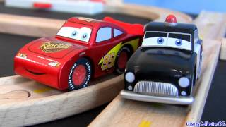 Wood Cars Sheriff Race n Chase Radiator Springs Race Track Playset Disney Pixar Metallic Mcqueen