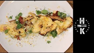 Easy Breakfast   Sun Blushed Tomato, Basil, Chesnut Mushroom Egg White Omelette With Pea Shoots And