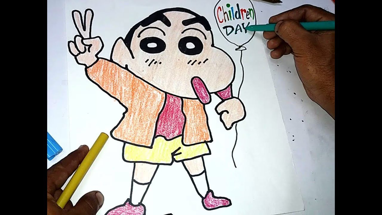 How To Draw Shinchan Easy Drawing Children Day Spacial Youtube