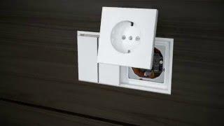 JUNG LS ZERO - Монтаж выключателей и розеток в мебель