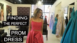 TRYING ON PROM DRESSES FOR THE FIRST TIME! #prom