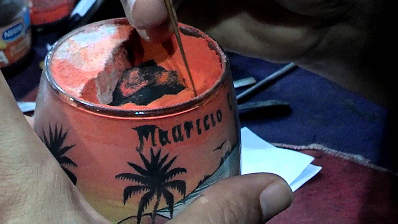 Artesanato Com Garrafa Pet Passo A Passo ~ Arte em areia colorida Feirinha de artesanato da Av