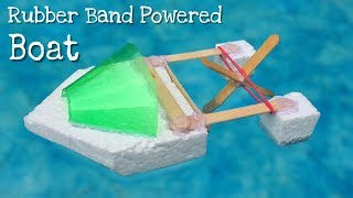 How to Make a Rubber Band Powered Boat - Simple Elastic Band Paddle Boat