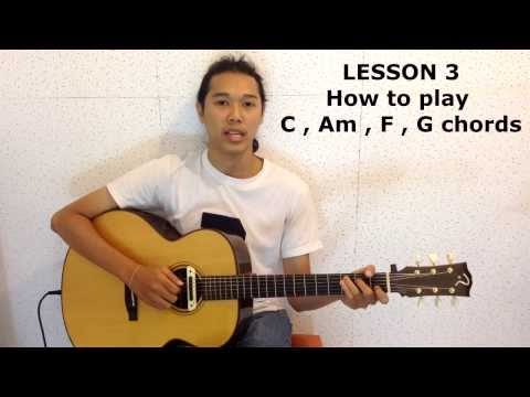 สอนเล่นกีต้าร์โปร่ง ep 3 สอนจับ คอร์ด C Am F G โดย ครูลิฟ