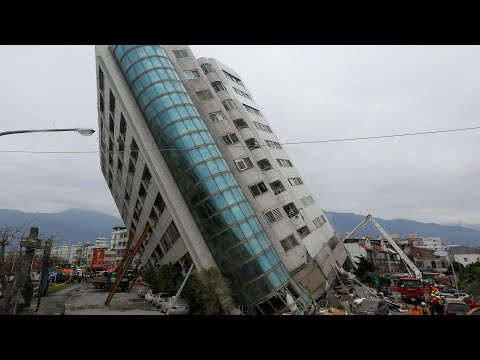 Taiwan earthquake leaves tall building on dangerous lean