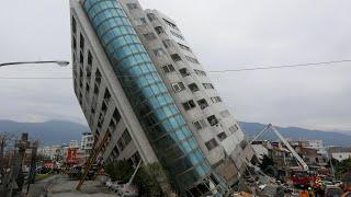 Taiwan earthquake leaves tall building on dangerous lean