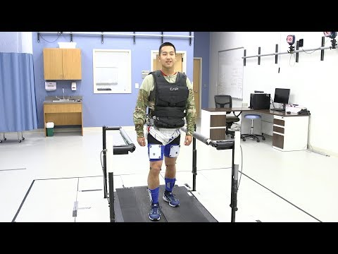 Motion capture tests device to offload weight of military packs