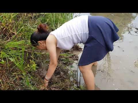 Toprağı kazarak yengeç avlayan mini etekli