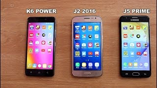 Lenovo K6 Power Vs Samsung J2 2016 Vs J5 Prime SpeedTest Comparison II Hindi