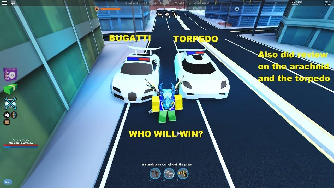 What Is Faster Bugatti Or Torpedo Roblox Jailbreak Youtube