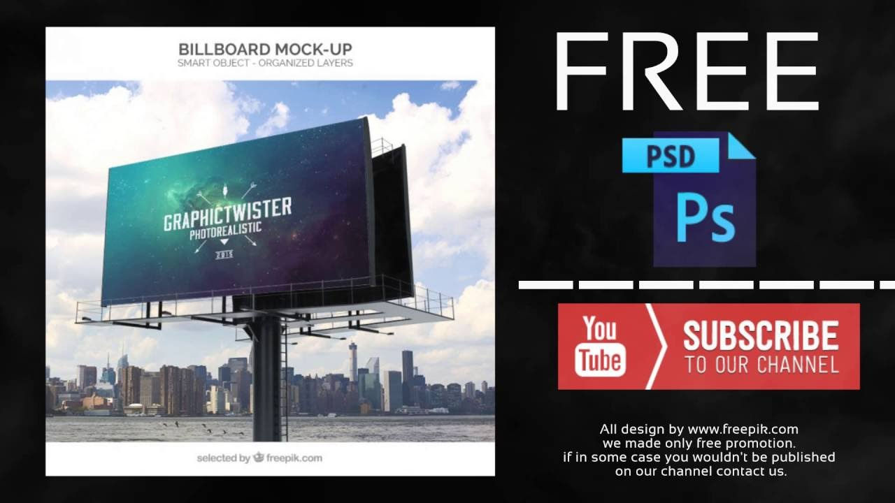 billboard mockup free photoshop template youtube