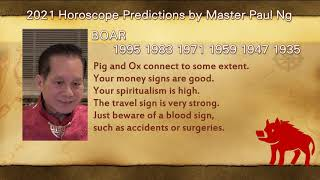 2021, Year of Metal OX, Zodiac Prediction, BOAR people, Feng Shui Master, Paul Ng,  Toronto, Canada