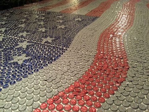 Old Glory An American Flag Created From Over 20,000 Budweiser Bottle Caps For Stagecoach Festival